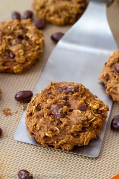 One of my favorite healthier cookie recipes. Oats, dark chocolate, applesauce, yogurt, cinnamon. So easy, too!