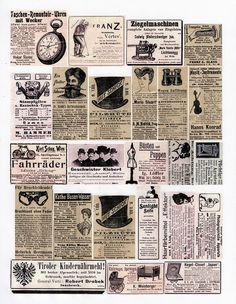 German newspaper ephemera collage sheet