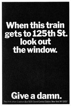 I love you, NY -- Spacing + Centered text. Young and Rubicam, 1968.