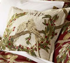 Love Budgies Embroidered Pillow Cover #potterybarn
