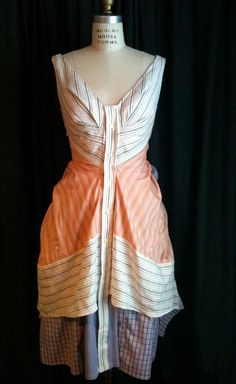 Bo Peep Recycled / Upcycled Men's Dress Shirt Dress  for Wedding, Party, Croquet size 6/8. $225.00, via Etsy.