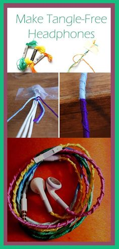 headphon idea, crafti, tanglefre headphon, diy project, tangl free, diy bracelet, giftcraft idea, rainbow colors, friendship bracelets