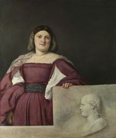 Portrait of a Lady ('La Schiavona')  about 1510-12, Titian National Gallery, London.The painting, known by the 17th century as 'La Schiavona' (the Dalmatian woman), must date from 1510-12. The initials T.V. on the parapet probably stand for Tiziano Vecellio. The raised portion of the parapet is a revision, and drapery originally painted there now shows through it. The profile relief, inspired by those on antique cameos, seems to be of the same sitter.