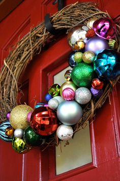 Outdoor Christmas wreath. This would look cute on your door