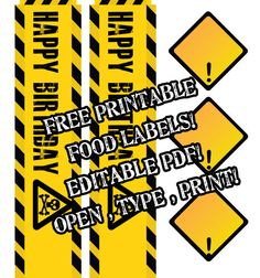 Free #construction theme # birthday #party #printable #pdf #digger #party idea