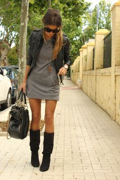 fashion, rock chic, style, mini dresses, black boots, fall outfits, the dress, leather jackets, grey dresses