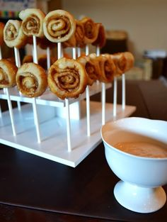 Bite size brunch ideas. Cute rimmed milk glass would be fun with chocolate chip cookies for a mini dessert bar.