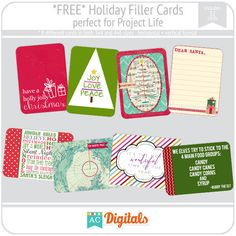 free holiday filler cards for project life