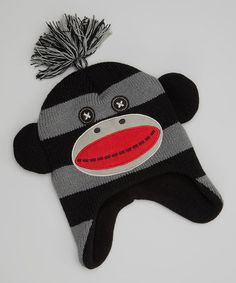 Another great find on #zulily! Black & Gray Monkey Earflap Beanie #zulilyfinds