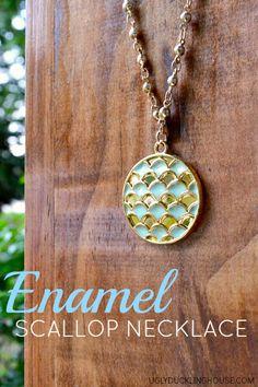 DIY Enamel Scallop Necklace with Martha Stewart Crafts Jewelry #marthastewartcrafts #jewelry