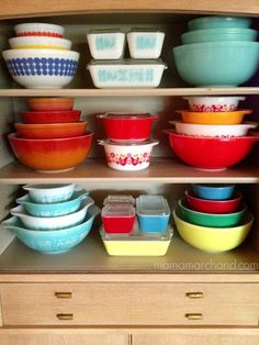 mama marchand's nest: mama's house tour: living room - vintage pyrex collection
