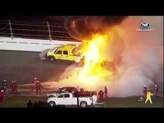 Juan Pablo Montoya Crashes into ServiceMaster injet dryer bursts into FLAMES 2012 Daytona 500