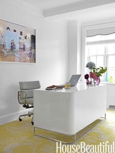 White and yellow modern home office.