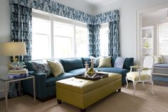 """blue And Green Living Room"" Design Ideas, Pictures, Remodel, and Decor"