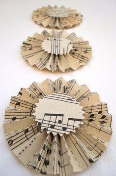 sheet music paper rosettes