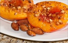 A delicious summer treat - Fresh nectarines with port wine drizzle. Yum! #LowGI #GlutenFree #Vegan #Vegetarian