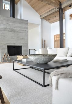 living space l concrete fireplace | that bowl