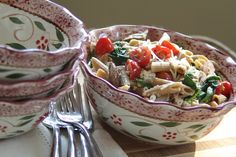 Whole Wheat Penne Primavera with Feta in the Heritage 5-pc. Bowl Set