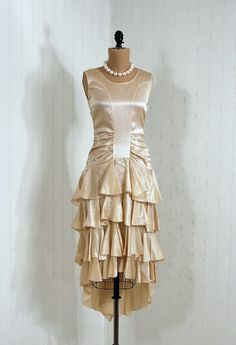 1920's Ivory Ruched Silk-Satin Tiered Ruffle Evening Dress