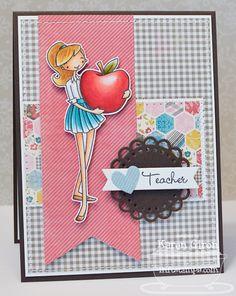 à la modes An Apple for Teacher; Fishtail Flags Layers STAX Die-namics; Mini Doily Circles Die-namics; Notched Tag Die-namics - Karen Giron