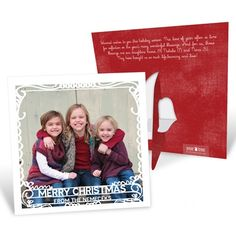 These unique Christmas cards have a built-in easel that folds out in the back to create an instant stand for your photo. #christmascards #holidayphotocards #peartreegreetings