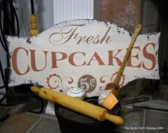 FRESH CUPCAKES Shabby Cottage French Country Signs Kitchen Bakery 24 x 12; $58.95