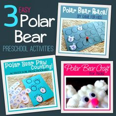 Fun and Easy Polar Bear activities for preschoolers. Fun winter activities for Preschool.