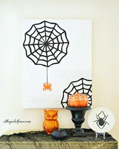 How To Make a Creepy Crawly Halloween Canvas - At The Picket Fence