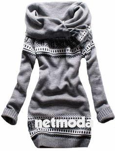 Gray Open Face Norwegian Style Sweater