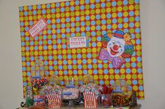 Circus / Carnival Party - Sweet Treats table - help yourself candy bar for O & E's party