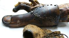 Artificial toe discovered in 2000 in the tomb of Tabeketenmut in the necropolis of Thebes, near Luxor. The wood and leather device is hinged for comfort and believed to be the oldest functioning prosthesis ever found