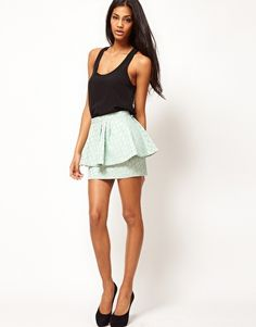 Enlarge ASOS Peplum Mini Skirt in Animal Jacquard
