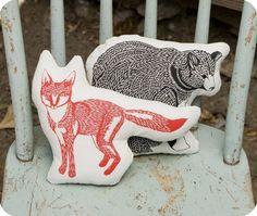 animal pillows by birdmafia on etsy