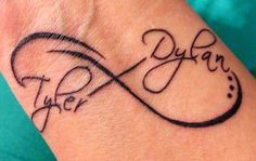 infinity tattoo with kids names | Infinity tattoo with kids names on wrist | Tattoos-probably would get this on my lower left side if my back