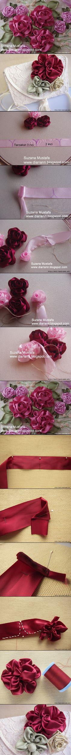 http://www.liveinternet.ru/users/marinamila/post272094477/ ribbon rose, crafts to try, flower, ribbon work