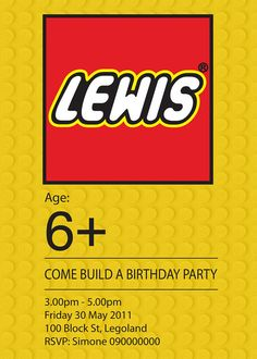 birthday party invitations, lego invit, birthday parties, lego parti, birthday invitations