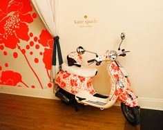 style, vespas, ride color, spade vespa, ridecolor, florence broadhurst, kate spade, accent walls, scooter