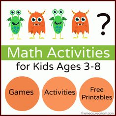 Find countless math activities organized by concept: number recognition, patterns, shapes, addition, and much more!
