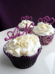 Purple Hearts  and Monograms  #wedding cupcakes ... Wedding ideas for brides, grooms, parents  planners ... https://itunes.apple.com/us/app/the-gold-wedding-planner/id498112599?ls=1=8 … plus how to organise an entire wedding ♥ The Gold Wedding Planner iPhone App ♥
