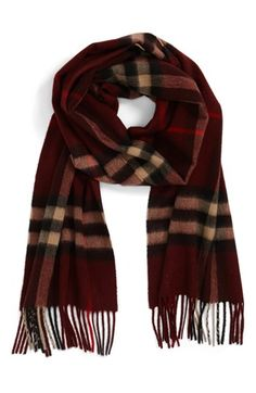 {maroon check scarf}