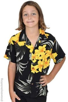Boys Hawaiian Shirt in Black & Yellow Leaf Print. For casual wear, luau, beach parties, cruising or more. #cabana #matchymatchy #cruisewear #cruise #partyoutfits #boyspartyoutfits #boyshawaiianoutfitset #beachpartyshirts #cruise #cruisewear #swimmingcarnival #sportsday #casual #skateshirts #hawaiianprint #partyshirt #fancydress #fancydresscostume #sportsday