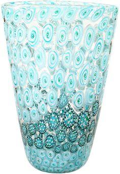 handblown Murrini art glass vase