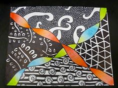 ribbon shading with zentangles. love. @Brooke Baird Williams