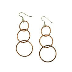 Amazon.com: John S Brana Handmade Three Tiered Hammered Copper Dangle Earrings: Jewelry