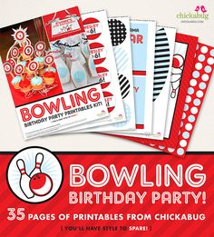 Bowling birthday party personalized printables kit from Chickabug
