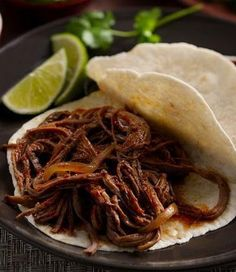 Chile and Roasted Garlic Beef Brisket Tacos