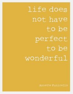 Don't aim for perfect, aim for wonderful!