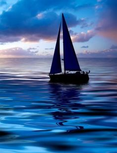 #blue water #blue sailboat