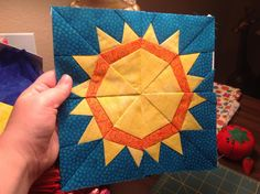 Sun paper piece quilt block from Craftsy