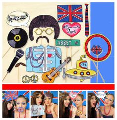 The Beatles inspired music photo booth props  by thepartyevent, $14.99